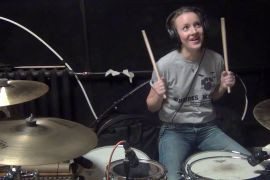 Sting - Drum Cover - Every breath you take, girl play on drums after 16 lessons.